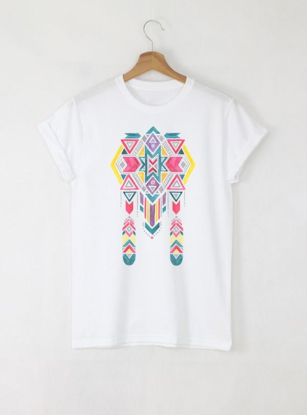 Ethno 11 Акварел - Детска бяла тениска за момче с дизайнерски принт