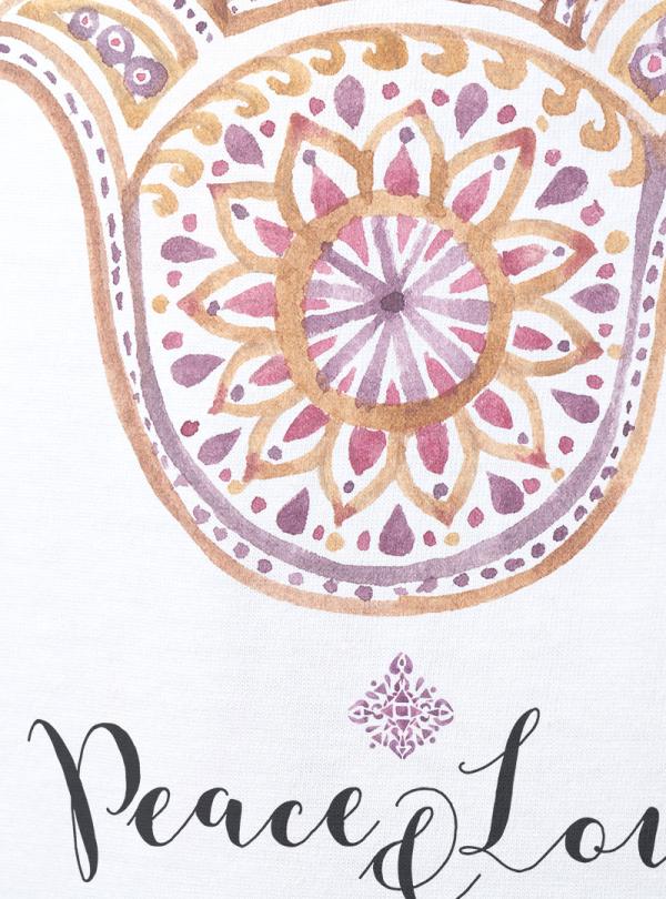 Fatima hand Акварел - Дамска снежно бяла Блуза с дизайнерски принт
