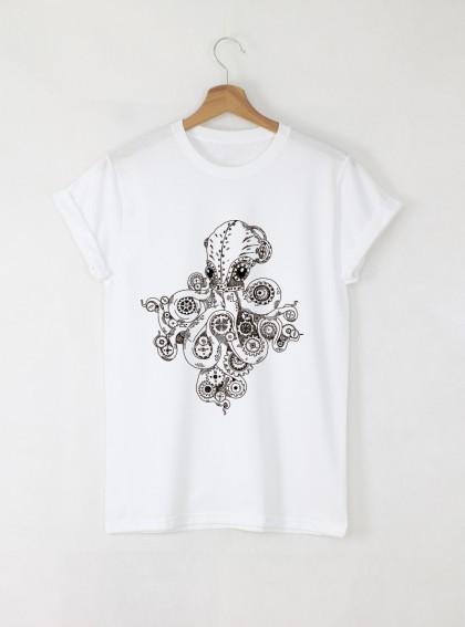 Octopus Дамска бяла тениска с дизайнерски принт