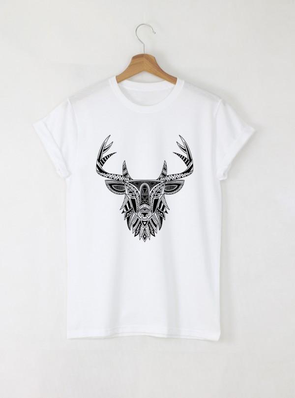 Deer Mandala Дамска бяла тениска с дизайнерски принт