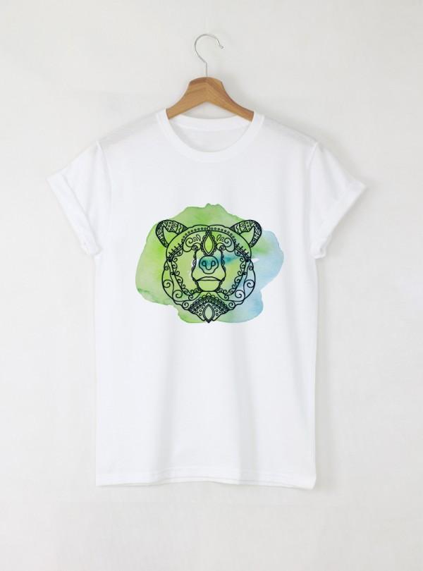 Bear Mandala Дамска бяла тениска с дизайнерски принт