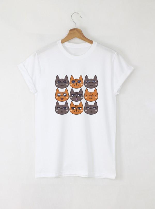 Cats Дамска бяла тениска с дизайнерски принт котки