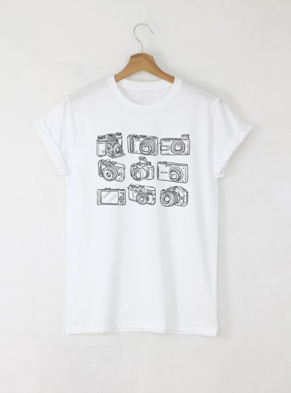 Cameras мъжка бяла тениска с дизайнерски принт