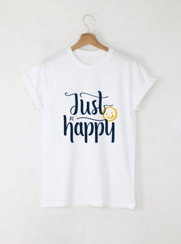 Just Be Happy Дамска бяла тениска с дизайнерски принт